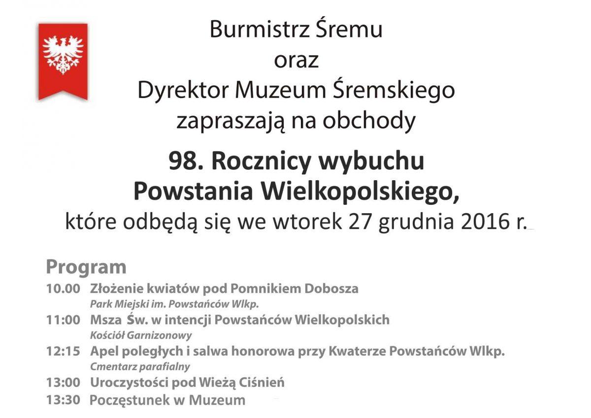 98. Rocznica Powstania Wielkopolskiego: program obchodów